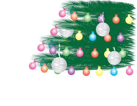 Vector Christmas Tree background Green Leaves, Colorful Light Bunting and Silver Ornaments