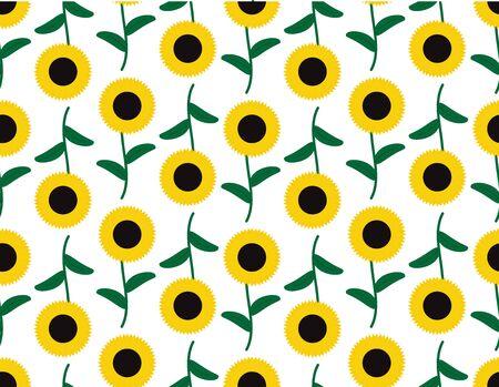 Vector Sunflowers Seamless Pattern Illustration