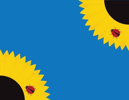 Flat Vector Sunflowers and Ladybug on Blue Background Illustration