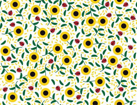 Vector Sunflowers and leaves Seamless Pattern Illustration