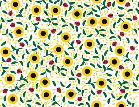 Vector Sunflowers and leaves Seamless Pattern Ilustração