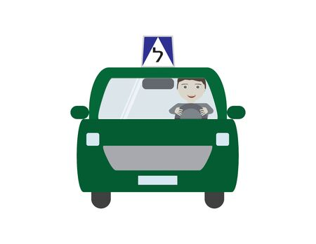 Green Israeli Driving School Car with Male Character Illustration