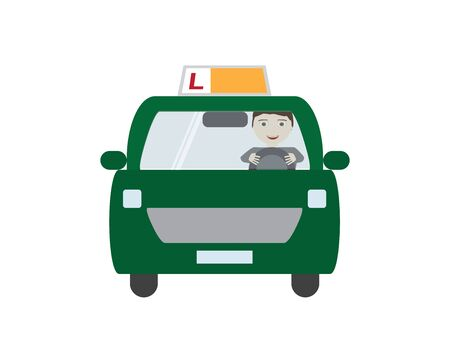 Green Driving School Car with Male Character