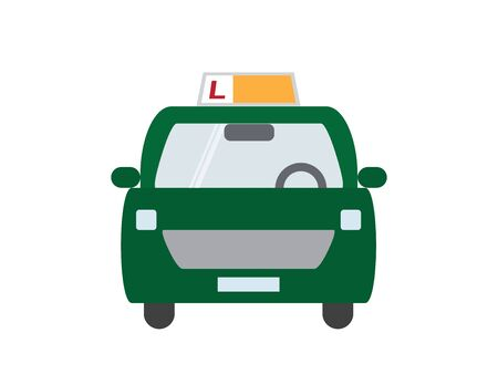 Green Driving School Car on White Background