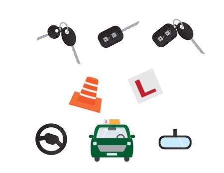 Driving Lessons and Transportation elements Illustration