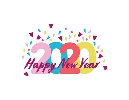 Colorful Happy New Year 2020 with Confetti