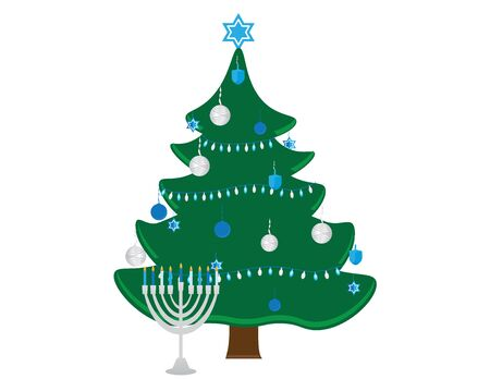 Hanukkah Bush with Blue White Decorations and Menorah with Blue White Candles on White Background