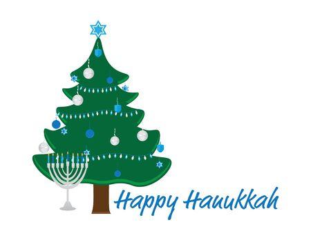 Hanukkah Bush with Blue White Decorations, Menorah with Blue White Candles and Happy Hanukkah Text on White Background