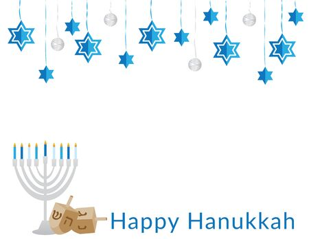 Happy Hanukkah Banner with Decorations, Menorah and dreidels Ilustração