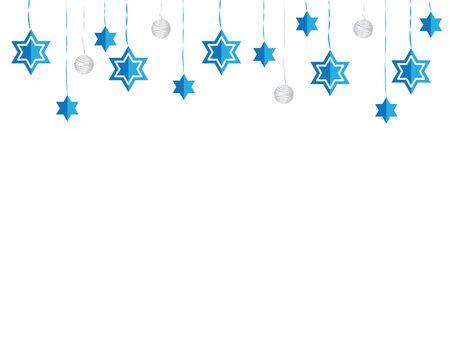 Jewish Hanging Star of David Blue White Decoration