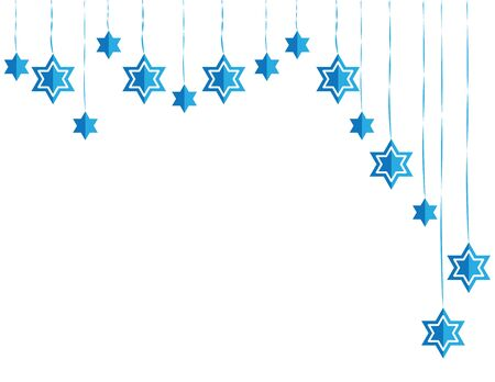 Jewish Hanging Star of David Blue White Asymmetric Decoration Ilustração