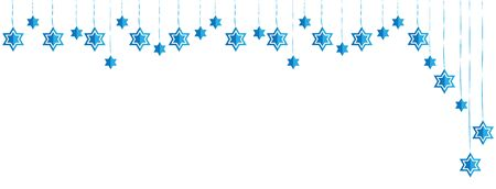 Jewish Hanging Star of David Blue White Banner Asymmetric Background