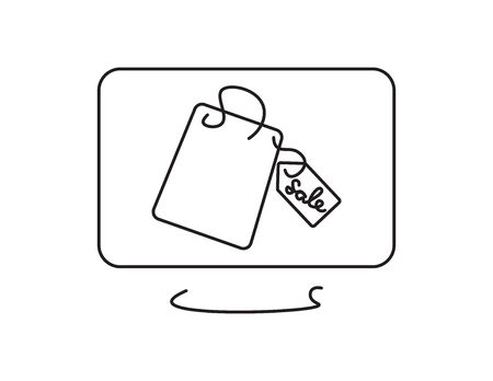 Black line art computer screen with shopping bag and sale tag on White background