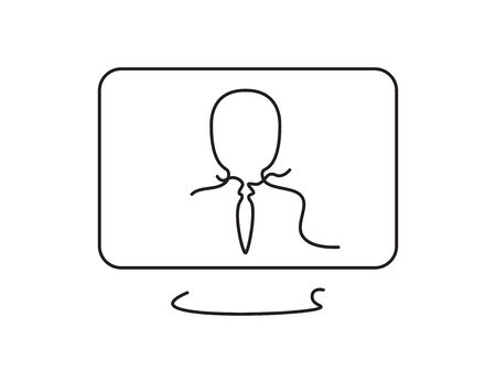 Black line art computer screen with business man on White background Illustration