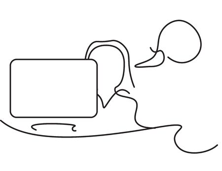 Black line art business woman and laptop with talking bubble on White background
