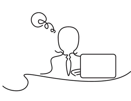 Black line art business man and laptop with thinking bubble on White background