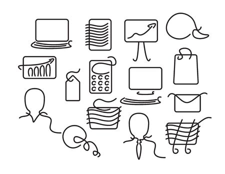 Set of Black line art business icons on White background