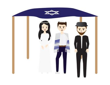 Jewish Wedding Bride, Groom Breaking a Glass,, Chuppah and Rabbi in White Background