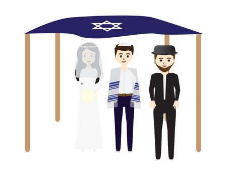 Jewish Wedding Bride, Groom, Chuppah and Rabbi in White Background