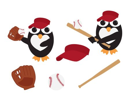 Cute Vector Penguin with Baseball Bat, Glove and hat on White Background Vectores