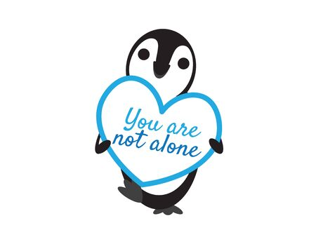 Cute Penguin Holding You Are Not Alone Heart Shape Sign on White Background