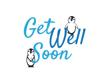 Get Well Soon Greeting with Cute Penguins on White Background Stock Illustratie