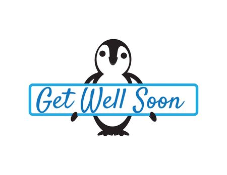 Cute Penguin Holding Get Well Soon Sign on White Background