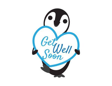 Cute Penguin Holding Get Well Soon Heart Shape Sign on White Background Vektorové ilustrace