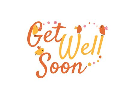 Get Well Soon Hand Written Greeting with Birds Illustration and Flowers