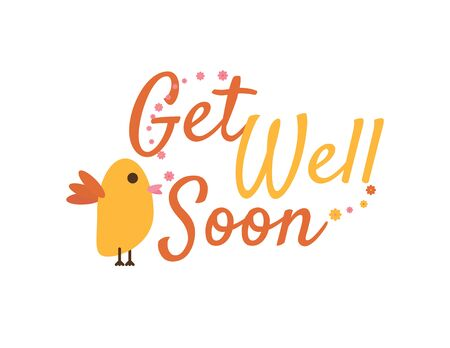 Get Well Soon Cute Motivational Greeting with Bird Illustration and Flowers