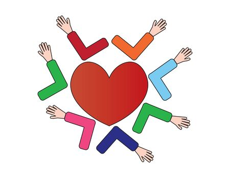 Colorful Hands Touching Elbows with Red Heart 向量圖像