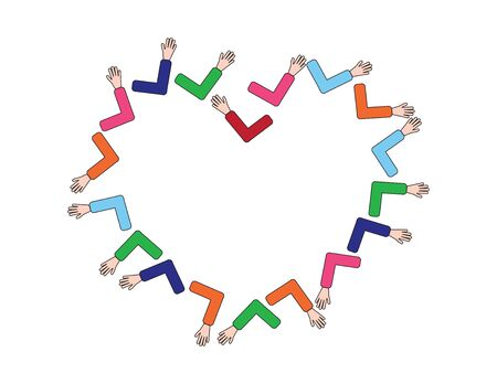 Hands Creating a Heart shape Touching with Elbows