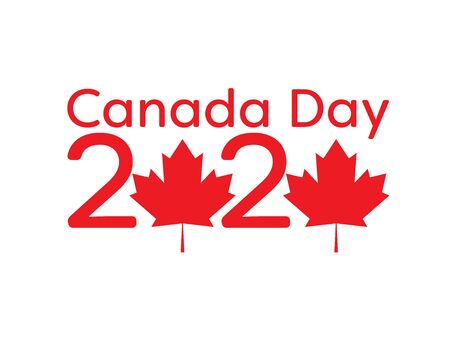 Canada day 2020 logo with Red maple leaves on White background Logo