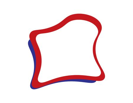 Blue Red  abstract frame on White background