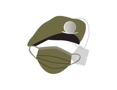 Green military hat, Army identity discs and face mask on White background