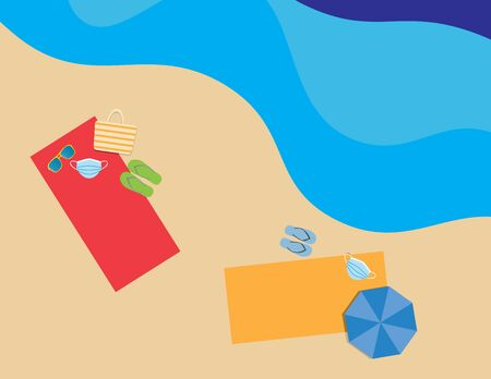Flat illustration of Colorful beach towels, umbrellas, flip flops, beach bag, sunglasses and face masks in the beach