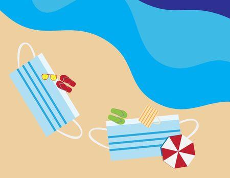 Flat illustration of face masks shape beach towels, umbrellas, flip flops, beach bag and sunglasses in the beach