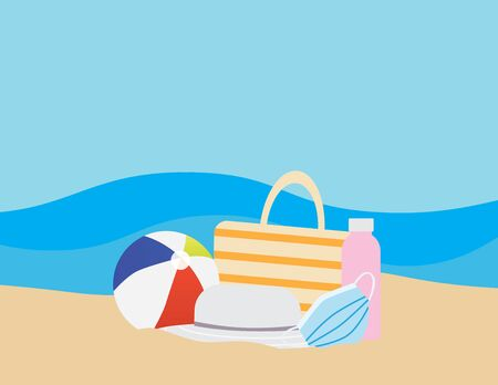 Flat illustration of Colorful beach ball, Beach bag, Water bottle face mask and Hat on Brown sand, and Blue sea on the background Ilustração