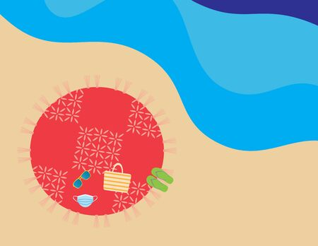 Flat illustration of round beach blanket, beach bag, flip flops, sunglasses and face mask in the beach