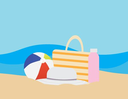 Flat illustration of Colorful beach ball, Beach bag, Water bottle and Hat on Brown sand, and Blue sea on the background