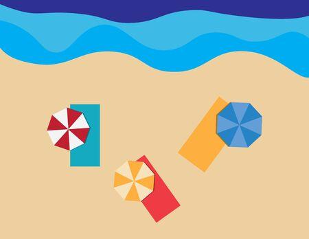 Flat summer illustration, beach towels and umbrellas on sand and sea background Ilustração