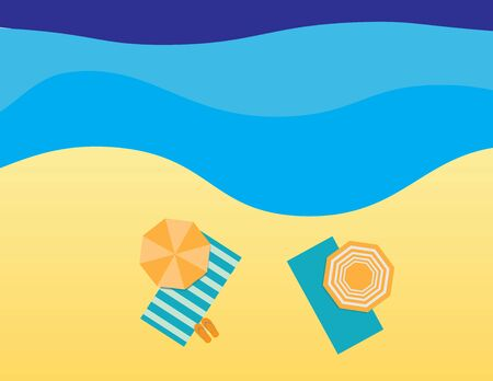 Blue Yellow Flat summer illustration, beach towels, flip flops and umbrellas on sand and sea background