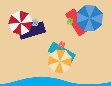 Flat summer illustration, beach towels flip flops and umbrellas on sand and sea background Ilustração