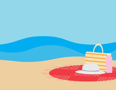 Flat illustration of Beach bag, Water bottle and Hat on round beach blanket Brown sand, and Blue sea on the background