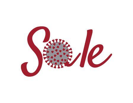 Red SALE logo with corona virus illustration on White background