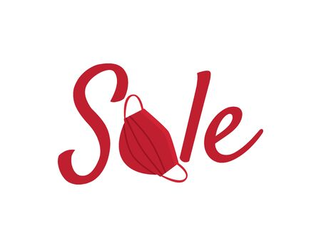 Red SALE logo with Red face mask on White background