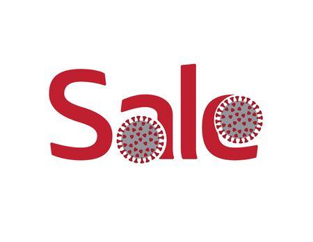 Red SALE logo with coronavirus illustration on White background Ilustração