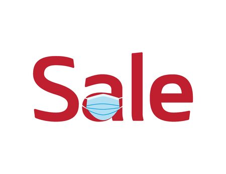 Red SALE logo with Blue face mask on White background