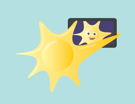 Sun character holding a smartphone taking a selfie
