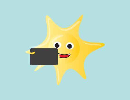 Happy sun character holding a smartphone taking a selfie
